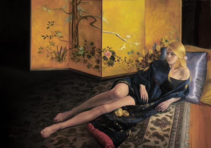 Саванна в синем кимоно. Автор: David Michael Bowers.